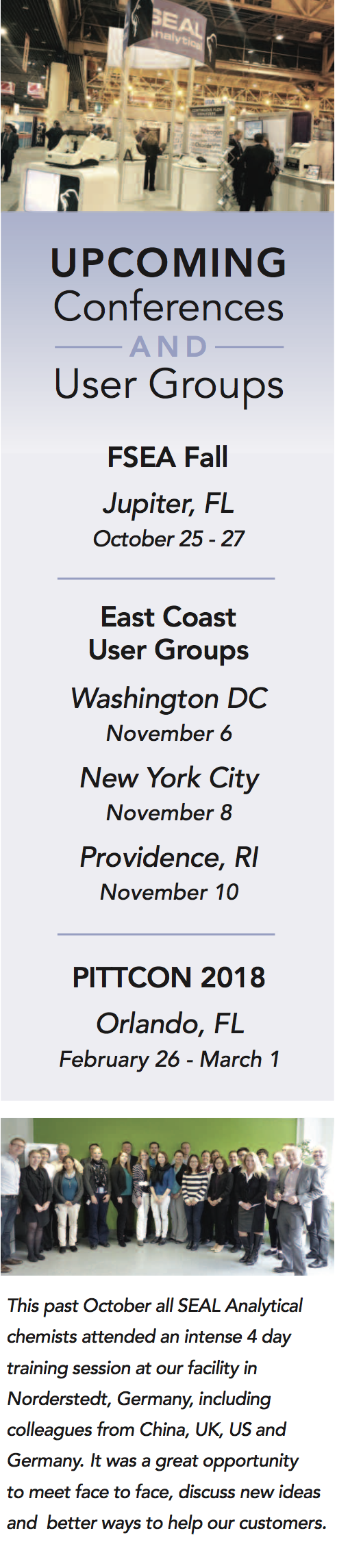 Upcoming SEAL Analytical User Groups